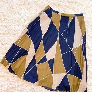 Ann Taylor Pink, Navy Blue & Mustard Print Skirt